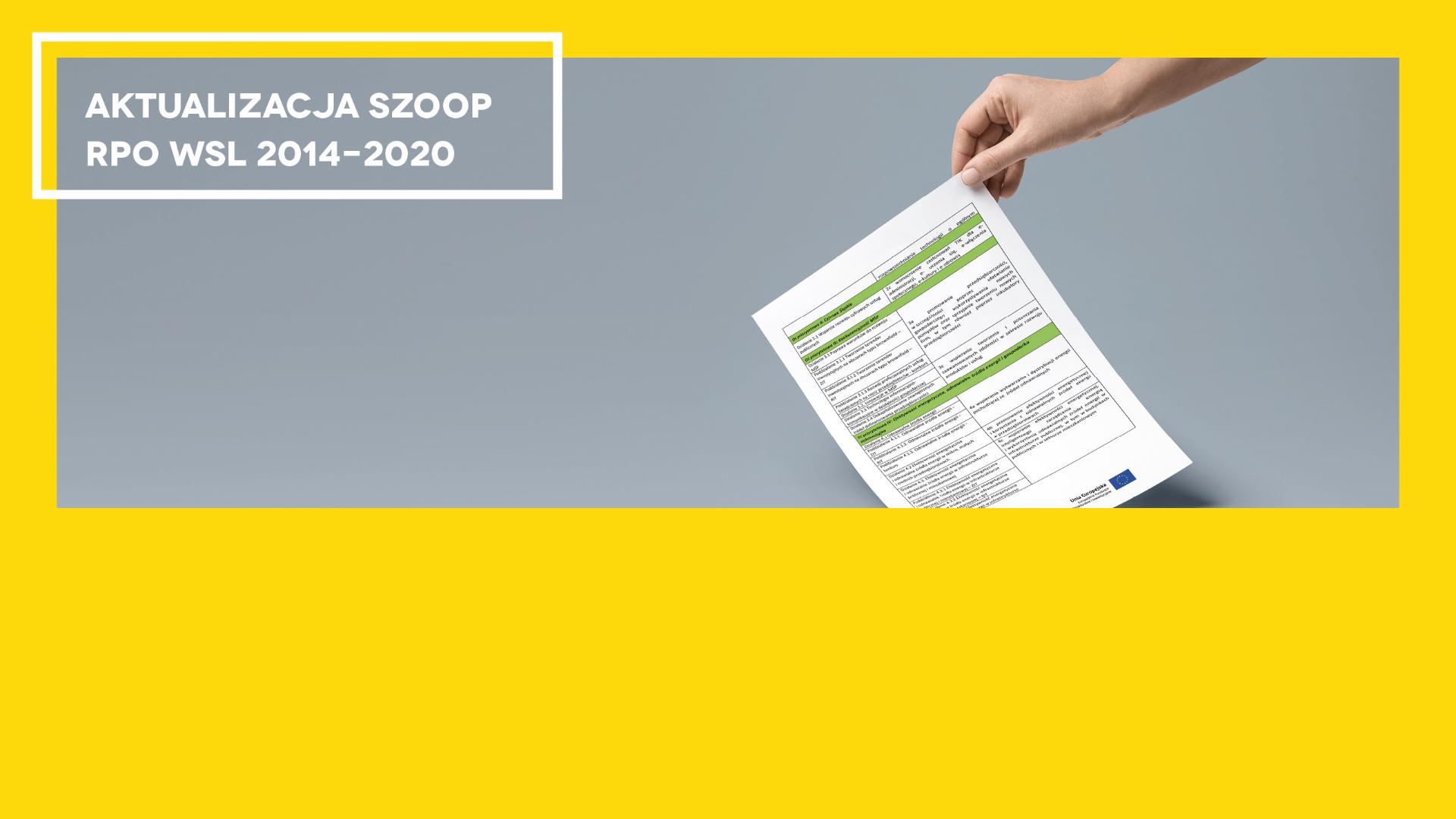 Aktualizacja SZOOP RPO WSL 2014-2020